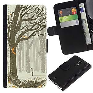 KLONGSHOP / Tirón de la caja Cartera de cuero con ranuras para tarjetas - Drawing Boy Art Forest Tree - Samsung Galaxy S4 Mini i9190 MINI VERSION!
