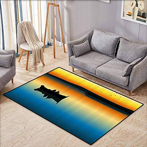 (Door Rug Increase Fishing Decor Buddies on Tranquil Still Lake at Epic Sunset Fish Male Friends Home Decor Orange Blue Super Absorbent mud W4'9)