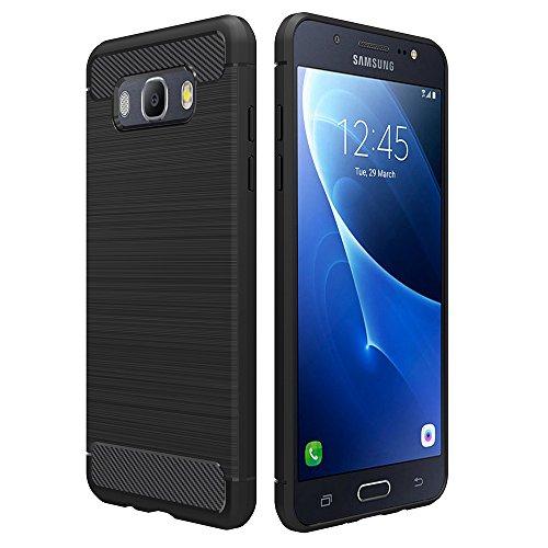 Simpeak Funda Compatible Samsung Galaxy J5 2016, Negro Silicona Fundas Samsung J5 2016 Carcasa Samsung J5 2016 Fibra De Carbono Funda Case(5,2 ...