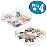 mDesign Bathroom Stackable Drawer Organizer for Eye shadow, Lipstick, Makeup Brushes - Pack of 4, 12'' x 12'' x 2'', Clear
