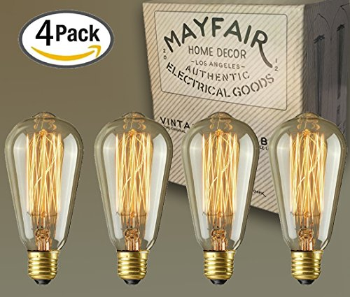 Edison Bulb 40W 4 Pack ST64 Antique Retro Vintage Squirrel Cage Filament Dimmable Warm Light Teardrop Style Replacement Bulbs - Pendant Lighting Chandeliers Lamps String Lights Incandescent 400 (Cute Halloween Yard Decoration Ideas)