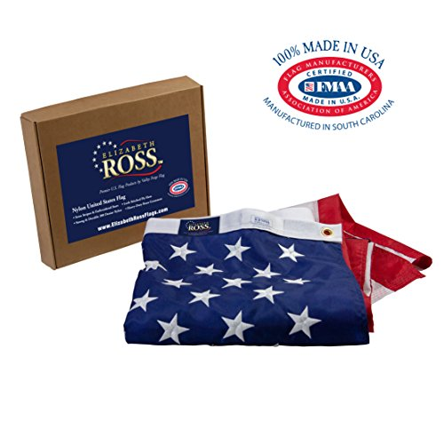 Elizabeth Ross American Flag, Nylon, PERMA-NYL, 3' x 5' 100% Made in USA, Sewn Stripes, Embroidered Stars, Heavy-Duty Brass Grommet, Premier US Products from Valley Forge Flag