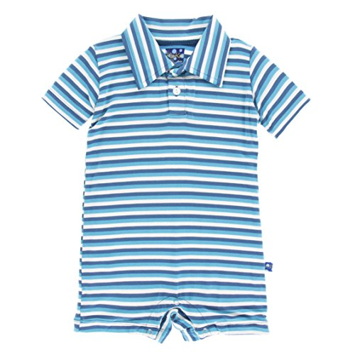 dcb60fab3 KicKee Pants Little Boys Print Polo Romper - Confetti Anniversary Stripe,  12-18 Months ~ baby rompers ~ Bajby.com - is the leading kids clothes, ...