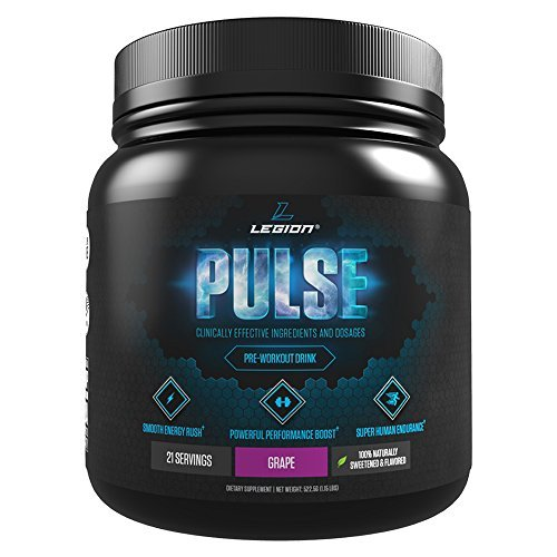 LEGION Pulse - Best Natural Pre Workout Supplement for Women and Men, Powerful Nitric Oxide Pre Workout, Effective Pre Workout for Weight Loss, Top Pre Workout Energy Powder - Grape, 1.14lbs by Legion Athletics