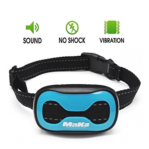MaKa Dog Barking Control, Training Collar for Small & Medium Sized Dogs- Humane, Safe, No-Shock Anti-Bark Collar – Stop Barking With Vibration & Sound Stimuli – 7 Levels Sensitivity Adjustment