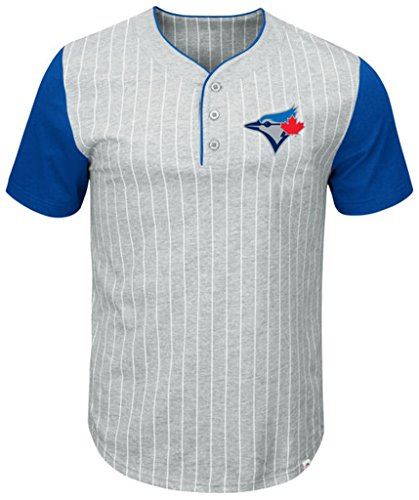 (VF Toronto Blue Jays MLB Mens Majestic Life Or Death Pinstripe Henley Shirt Gray Big & Tall Sizes (4XL))