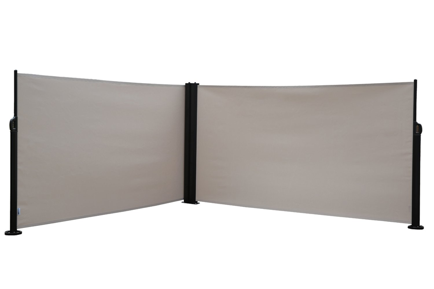 Abba Patio Retractable Double Folding Screen Fence Privacy Divider with Steel Pole, 5.2'H, Beige