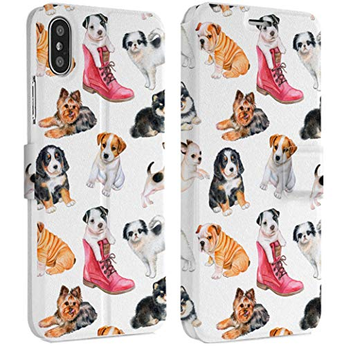 Wonder Wild Puppy Pattern iPhone Wallet Case X/Xs Xs Max Xr Case 7/8 Plus 6/6s Plus Card Holder Accessories Smart Flip Clear Design Protection Cover Small Bulldog Staff Rottweiler Jack Russel Pet