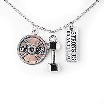 Powerful Beautiful Strength | Silver Dumbbell Kettlebell Fitness Necklace | Strong Is Beautiful