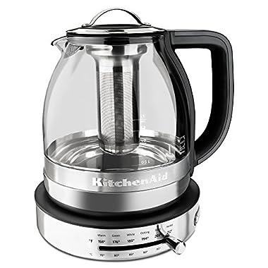 KitchenAid KEK1322SS 1.5L Electric Glass Tea Kettle - Stainless Steel