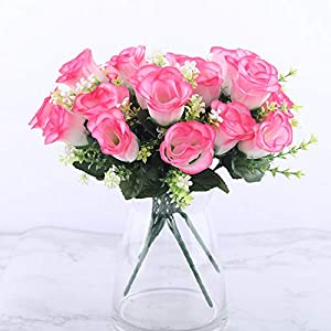 crystal004 5 Heads Artificial Rose Bouquet Silk Red Pink Royal Roses Fake Flower Garden Decor Indoor Decoration for Home Party A10034,Red 2