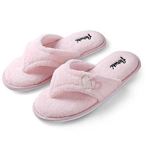 Aerusi Ladys Cute Home Slipper Comfy Soft Suola Pantofole Da Camera Da Letto Classy Spa Open Toe Slide Slipper Pink