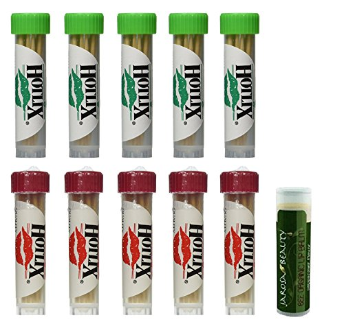 - HOTLIX TOOTHPIX Cinnamon & Mint Toothpicks .16 oz (14-16 stix per tube) Variety Set - 5 Tubes of Each (10 Tubes Total) with a Jarosa Bee Organic Peppermint Lip Balm by Jarosa Gifts