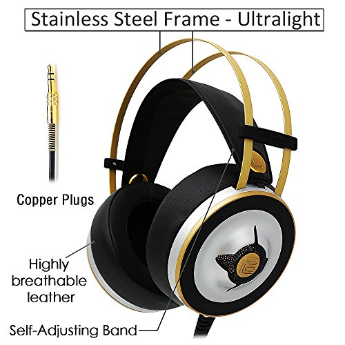 Markfive MK2 Comfortable Long Wearing High Sound Quality DJ Music Headphone Hi-Fi Over-Ear Headset Stereo Headphone Silver Color with Easy Adjustable Headband for PC Laptop Smartphone