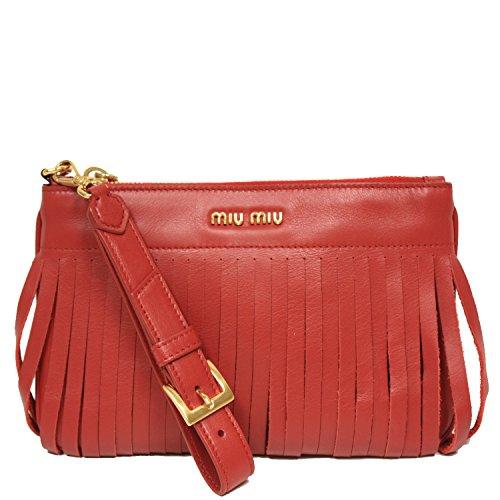 51b764a4d Miu Miu Prada Soft Calf Leather Fori Piatto Maniglia Red Clutch Bag  Wristlet 5N1811