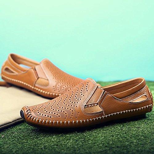 Xing Lin Sandales En Cuir Sandales En Cuir DÉté Chaussures DHommes Chaussures DHommes Paresseux Conduisant Les Jeunes Exposés Soft, Respirant Chaussures Hommes Chaussures Marée ,43, Brown