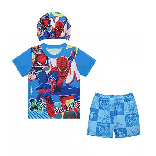 Avenger Jongen Badpak Spiderman Zwemmen Kledingstuk Zwembroeken Super Held Buitenshuis Badmode Vakantie 3 Stuk Met Hoed…