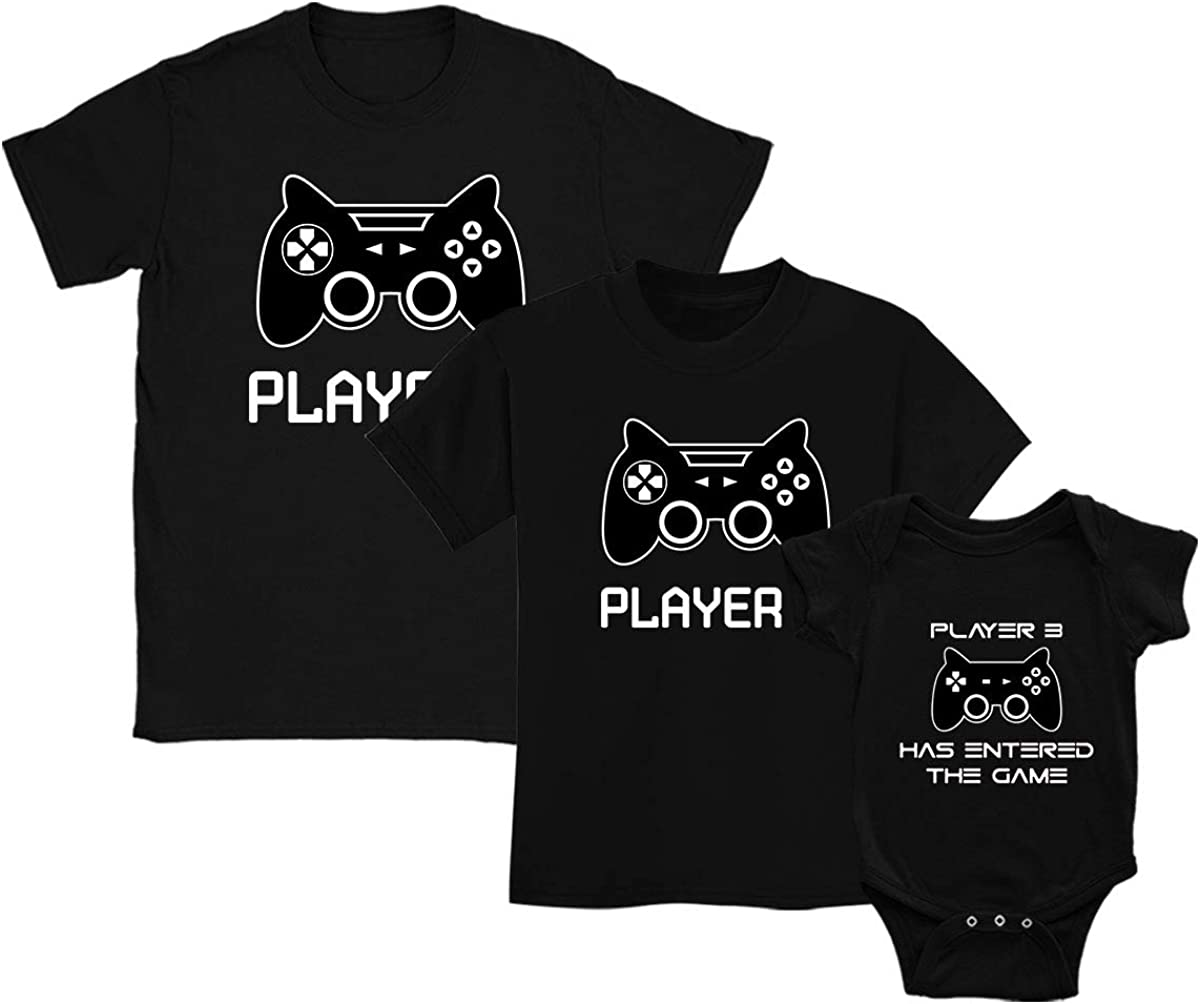 Green Turtle T-Shirts Ropa para Familia Igual, Camisetas Padres e Hijos, Regalo para Padres - Player 1, Player 2, Player 3