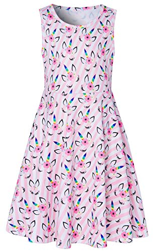 Unicorn Dress for Teen Girls Size 10-13t Cute Youth Big Students Children's Fashion Modest Sleeveless Princess Pageant Dress Up Clothes Fancy Colorful Angle Fantastic in Summer Prom Ball Party Outfits -
