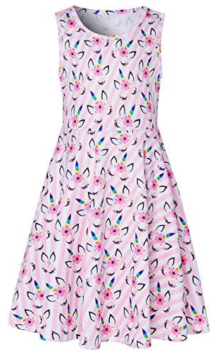 (Pink Unicorn Kids Girls Dresses 4t 5t Stripe Eyes 3D Print Ear Elf Baby Toddler Cute Animal Graphics Princess Summer Fancy Swing A Line Sundress for Birthday Dance Party Polka Dot Pegasus Midi Dresses)