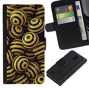 ULTIX Cases / Samsung Galaxy S4 IV I9500 / BLACK & YELLOW BALLS / Cuero PU Delgado caso Billetera cubierta Shell Armor Funda Case Cover Wallet Credit Card
