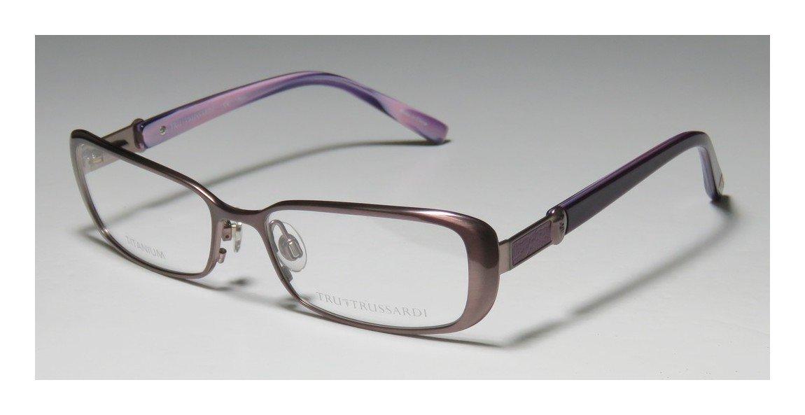 Trussardi 12507 Womens/Ladies Prescription Ready Avant-garde Design Designer Full-rim Titanium Flexible Hinges Eyeglasses/Eye Glasses (53-16-135, Mauve / Violet) by Trussardi (Image #2)