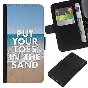 KingStore / Leather Etui en cuir / Sony Xperia Z1 L39 / Toes Sand Sea Summer Beach Blue Ocean