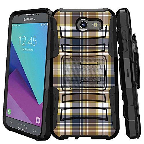 MINITURTLE Case Compatible w/Case for [Samsung Galaxy Sol 2   Express Prime 2   Amp Prime 2   J3 Mission] [MAX Defense] Clip Slim Matte Case with Stand Blue Brown Checker Plaid