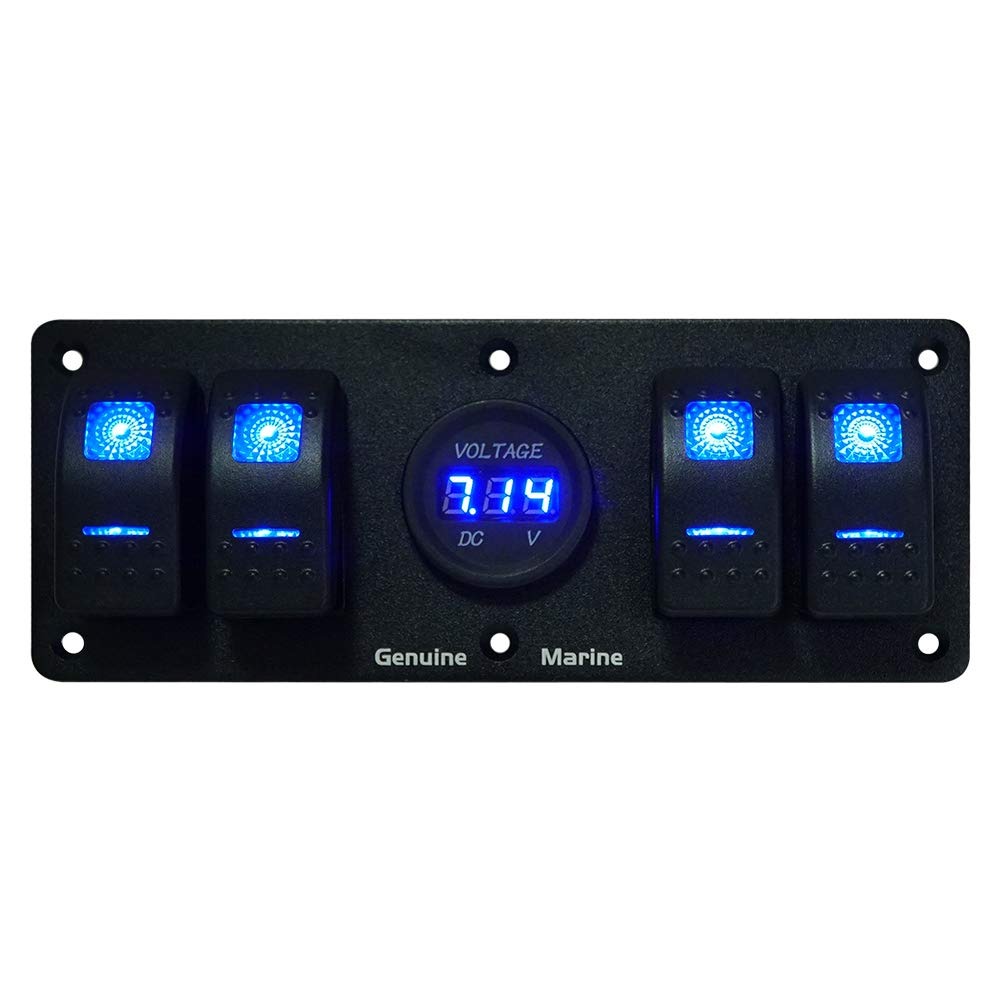4 Gang Rocker Switch Panel with 12V Digital Voltmeter Display, 12V / 24V LED Blue Lighted On/Off Switches for RV Truck Off-Road Vehicles Boat by GenuineMarine