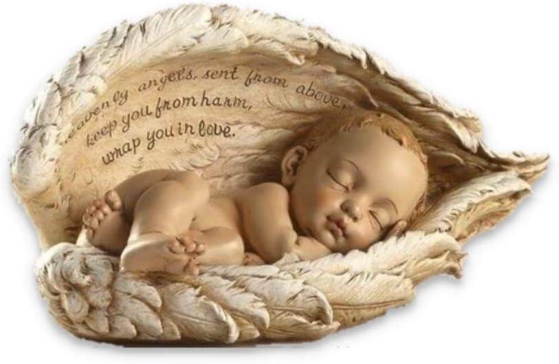 "Roman 8"" Joseph's Studio Sleeping Baby in Angel Wings Figure with Verse"