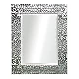 powder room mirror  16 x 20 Inches Silver Beveled Mirrors for Wall Mirrors for Living Room Large Bathroom Mirrors Wall Mounted Mosaic Design Mirror for Wall Decorative (Silver)