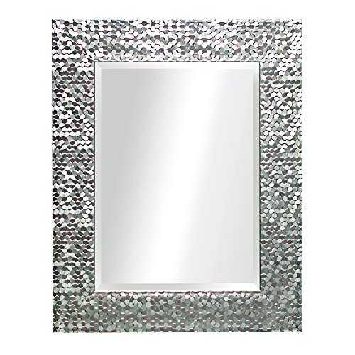 16 x 20 Inches Silver Beveled Mirrors for Wall Mirrors for Living Room Large Bathroom Mirrors Wall Mounted Mosaic Design Mirror for Wall Decorative (Silver)