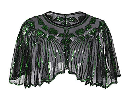 Vintage Bolero Casuales Verde Mujeres Transparentes Chaqueta Hombro Gasa Elegantes Fiesta Chal Party Cóctel Lentejuelas Mujer Espumoso Fashion qw1wECT