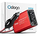 Odoga 300W Car Power Inverter DC 12V to 110V AC Converter with Dual AC Outlets and Dual USB 4.8A Fast Charging Smart Ports ~ Portable and Powerful ~ 2017 New Design - Red Aluminum Body