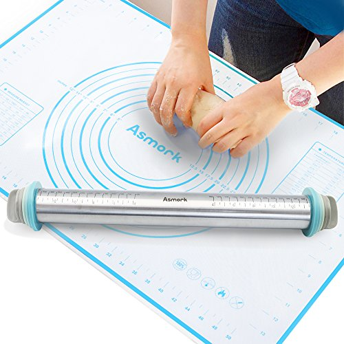 Asmork Rolling Pin,Silicone Baking Mat,Adjustable Stainless Steel Rolling Pins Dough Roller with 4 Removable Thickness Rings for Baking Dough, Pizza, Pie, Pastries, Pasta and Cookies (2)