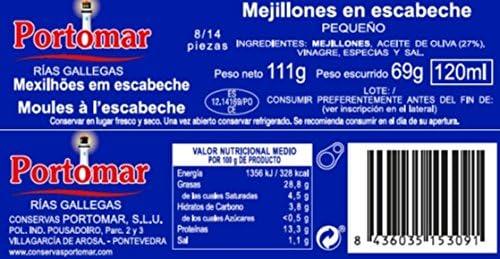 Mejillones de las Rías Gallegas en escabeche-8-14 pzs/lata ...
