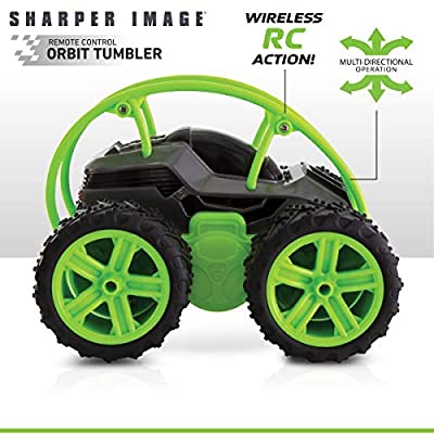 Sharper Image Orbit Tumbler RC Car Toy for Kids, Remote Control Stunt Spinning Children's Cars, Long Range 2.4 GHz Racing, 360 Power Flips: Toys & Games
