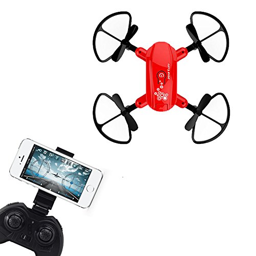 Littleice D10WH Mini Foldable Drone With Wifi FPV HD Camera 2.4G 6-Axis Remote Control RC Quadcopter Toys (Red) by Littleice
