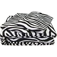 Rajlinen Luxury Egyptian Cotton 500-Thread-Count Sateen Finish Fitted Sheet & Pillow case King Size Pocket Depth (+14 Inch) Zebra Print