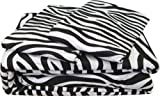 Rajlinen Luxury Egyptian Cotton 500-Thread-Count Sateen Finish King Size Bed Skirt (+7 Inch) Pocket Depth Zebra Print