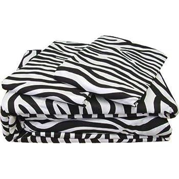 Rajlinen Luxury Egyptian Cotton 500-Thread-Count Sateen Finish Fitted Sheet & Pillow case Full Pocket Depth (+14 Inch) Zebra Print