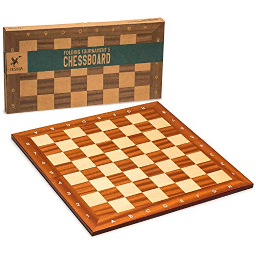 Husaria Magnetic Folding Professional Tournament Chess Board, No. 5, Handcrafted Maple and Sapele Mahogany Chess Board
