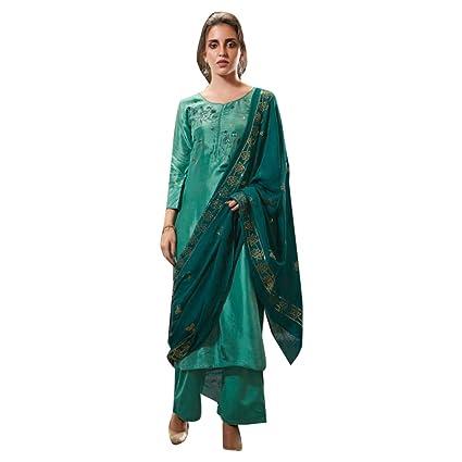 1194bdfdc7 Amazon.com: Pure Silk Pakistani Gota & Handwork Formal Wedding Palazzo  Salwar Kameez Suit Semi Stitched Indian 7503: Home Improvement