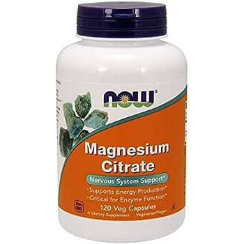 NOW Magnesium Citrate, 400 Milligram (120 Veg Capsules)