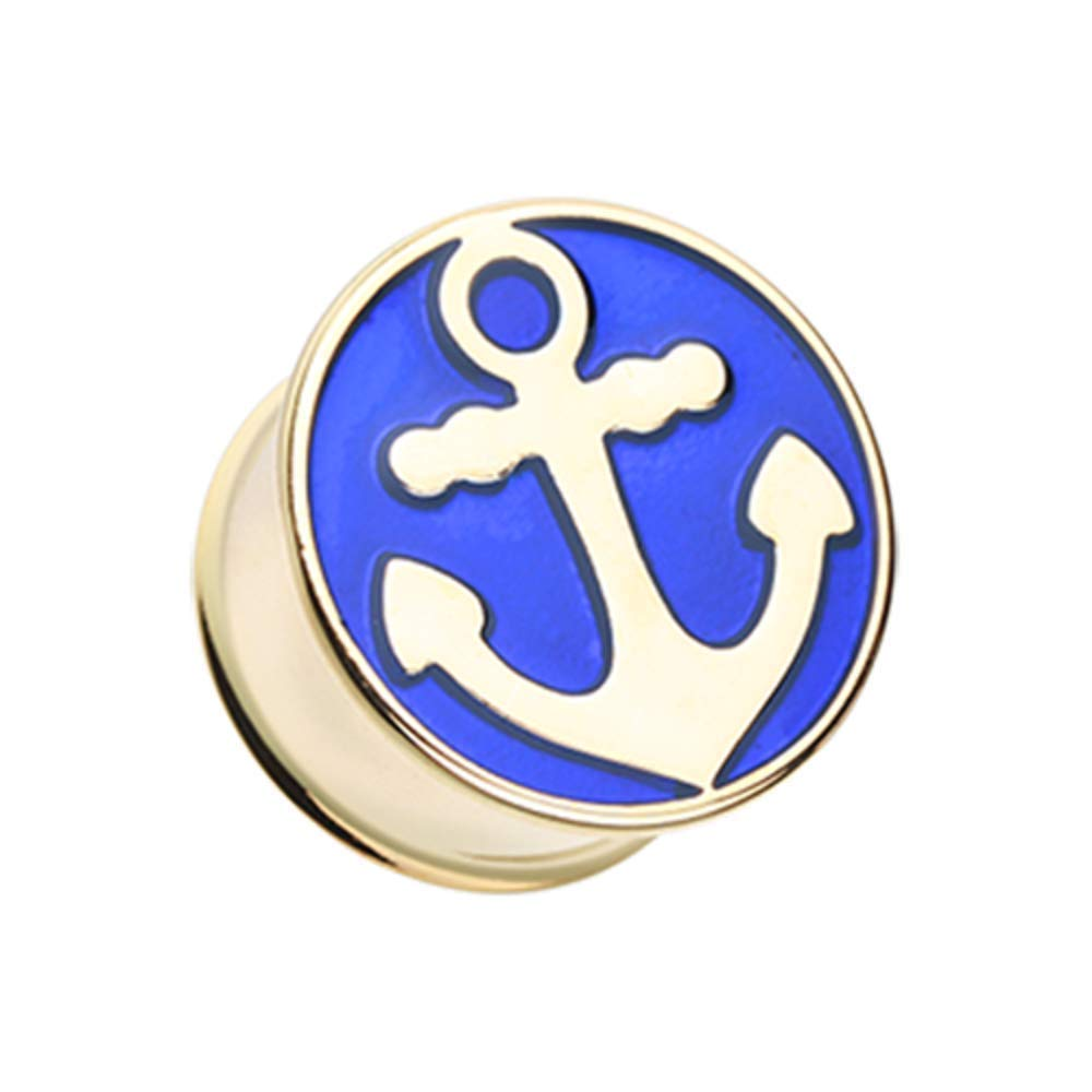 Covet Jewelry Golden Sailor Anchor Double Flared Ear Gauge Plug