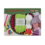 Loom Knitting Pattern Kit For Beginners - Hat Set - Green Hat & White Pompom - BambooMN