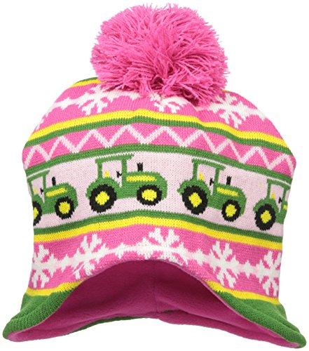 John Deere Little Girls' Winter Hat, Pink/Green, TODDLER