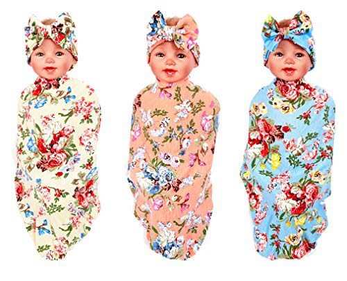 3 Sets Swaddle Blanket,Receiving Blankets and Headbands Set for Newborn Baby Girl Boy
