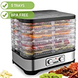 Hauture Food Dehydrator Machine, Food Dryer for Jerky/Meat/Beef/Fruit/Vegetable, Temperature Control, 5 Trays