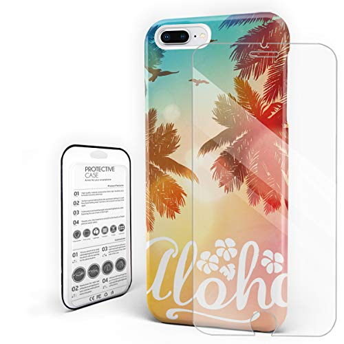 Compatible with iPhone 7 Plus Case and iPhone 8 Plus Case, Hard PC Back Phone Case with Tempered Glass Screen Protector Aloha Hawaii Beach Coconut Tree Sunset Shockproof Cover]()